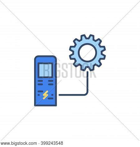 Ev Recharging Point With Cog Wheel Vector Concept Colored Icon Or Symbol