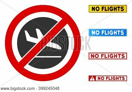 No Airplane Arrival Sign With Captions In Rectangle Frames. Illustration Style Is A Flat Iconic Symb