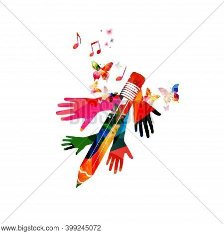 Colorful Pencil With Musical Notes And Hands Isolated. Creative Writing, Composing Music, Education