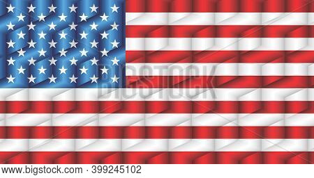 Usa Flag From Many Cubes - Illustration,  Three Dimensional Flag Of Usa