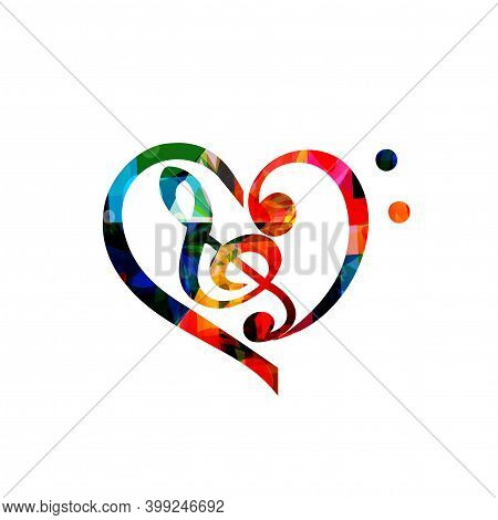 Colorful Musical Promotional Poster With G-clef And Heart Isolated Vector Illustration. Artistic Bac