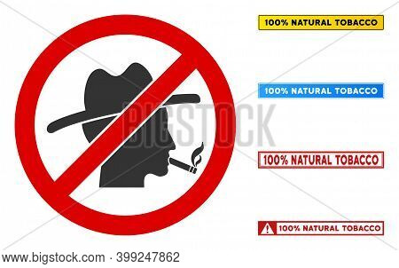 No Smoker Guy Sign With Texts In Rectangular Frames. Illustration Style Is A Flat Iconic Symbol Insi