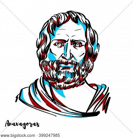 Anaxagoras Engraved Vector Portrait With Ink Contours On White Background. Pre-socratic Greek Philos