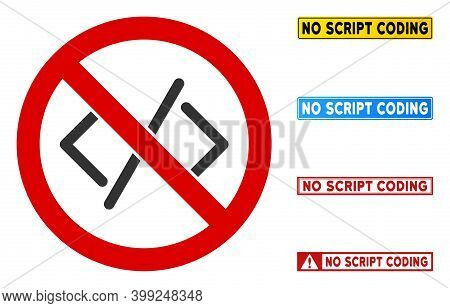 No Script Coding Sign With Badges In Rectangular Frames. Illustration Style Is A Flat Iconic Symbol