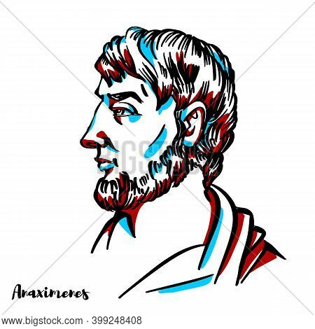 Anaximenes Of Miletus Engraved Vector Portrait With Ink Contours On White Background. Ancient Greek