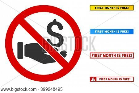 No Salary Sign With Messages In Rectangle Frames. Illustration Style Is A Flat Iconic Symbol Inside