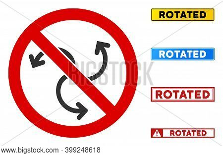 No Swirl Rotation Sign With Titles In Rectangle Frames. Illustration Style Is A Flat Iconic Symbol I