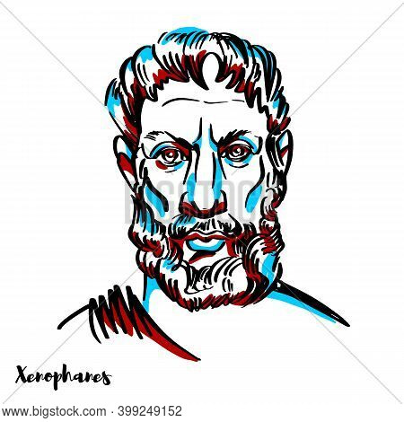 Xenophanes Engraved Vector Portrait With Ink Contours On White Background. Greek Philosopher, Theolo