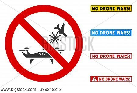 No Air Drone Strike Sign With Titles In Rectangle Frames. Illustration Style Is A Flat Iconic Symbol