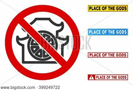 No Shinto Shrine Sign With Captions In Rectangle Frames. Illustration Style Is A Flat Iconic Symbol