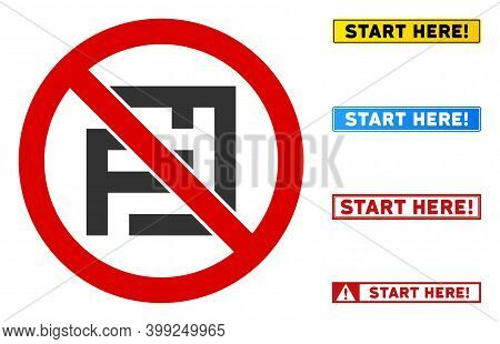 No Labyrinth Sign With Titles In Rectangle Frames. Illustration Style Is A Flat Iconic Symbol Inside