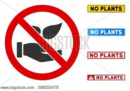 No Flora Offer Sign With Texts In Rectangle Frames. Illustration Style Is A Flat Iconic Symbol Insid