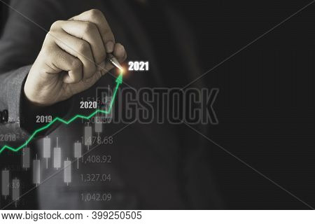 Stock Market Investment And Business Growth Concept , Businessman Writing Stock Market Investment Ch