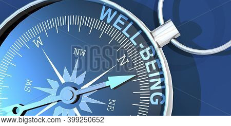 Compass Needle Pointing To Word Well Being, 3d Rendering