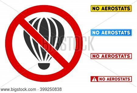 No Aerostat Sign With Titles In Rectangle Frames. Illustration Style Is A Flat Iconic Symbol Inside