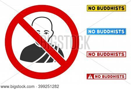 No Buddhist Monk Sign With Titles In Rectangular Frames. Illustration Style Is A Flat Iconic Symbol