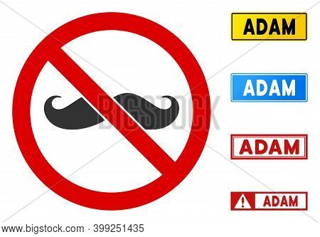 No Curling Mustache Sign With Messages In Rectangle Frames. Illustration Style Is A Flat Iconic Symb