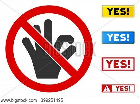 No Okay Gesture Sign With Titles In Rectangle Frames. Illustration Style Is A Flat Iconic Symbol Ins