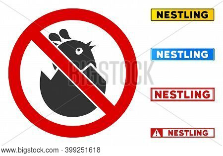 No Egg Nestling Sign With Words In Rectangular Frames. Illustration Style Is A Flat Iconic Symbol In