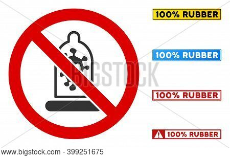 No Infection Condom Sign With Messages In Rectangle Frames. Illustration Style Is A Flat Iconic Symb