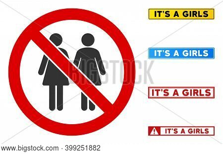 No Lesbian Couple Sign With Phrases In Rectangle Frames. Illustration Style Is A Flat Iconic Symbol
