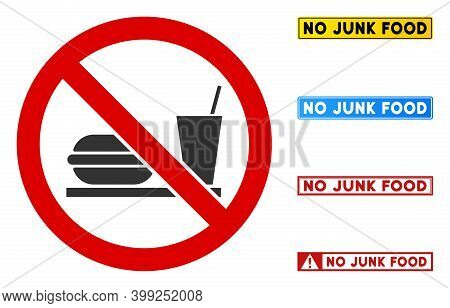 No Fastfood Sign With Words In Rectangular Frames. Illustration Style Is A Flat Iconic Symbol Inside