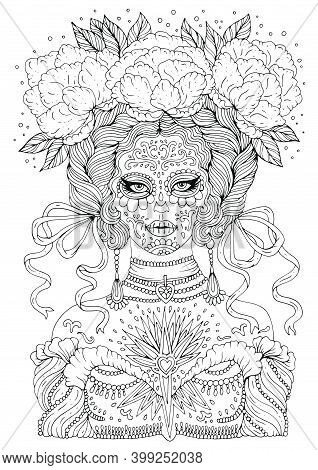 Vector Drawn Woman Calavera Makeup With Flowers In Wavy Hair Braided In Pigtails With Developing Rib