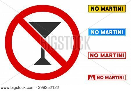 No Martini Sign With Captions In Rectangle Frames. Illustration Style Is A Flat Iconic Symbol Inside