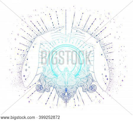 Vector Drawn Fortuneteller Female Hands Conjure Above A Magic Crystal Ball On A Patterned Stand. The
