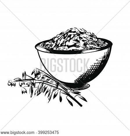Oats Bowl Sketch. Oatmeal Porridge Bowl With Grain