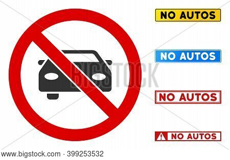 No Automobile Sign With Captions In Rectangle Frames. Illustration Style Is A Flat Iconic Symbol Ins