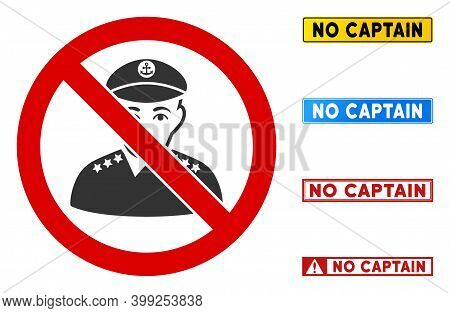 No Captain Sign With Texts In Rectangular Frames. Illustration Style Is A Flat Iconic Symbol Inside