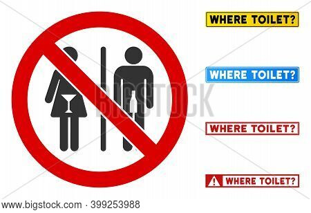 No Drunk People Toilet Sign With Messages In Rectangular Frames. Illustration Style Is A Flat Iconic