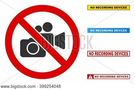 No Photo Video Recording Sign With Badges In Rectangle Frames. Illustration Style Is A Flat Iconic S