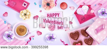 Happy Valentine's Day Vector Top View Background With Anemones Flowers, Envelopes, Cookies, Coffee C