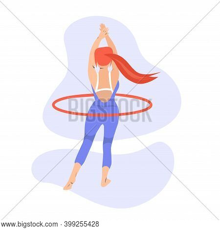 Young Woman With Hoola Hoop Illustration In Flat Style. Woman Twirling Hula Hoop In Vector