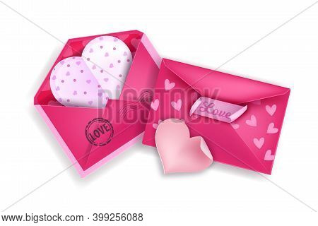 Valentine's Day Love Letter Envelope Illustration With Two Pink Heart-shaped Letters. Holiday Romant