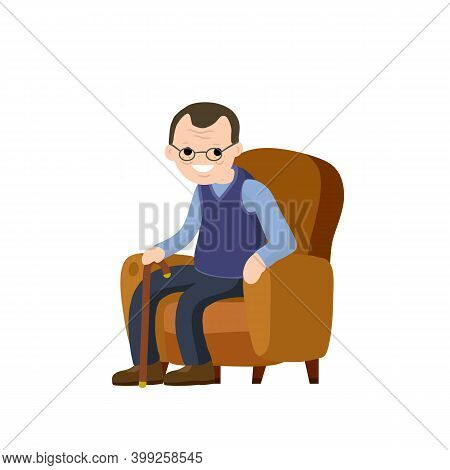 Old Man Is Sitting In Soft Armchair. Rest And Senior With A Cane.
