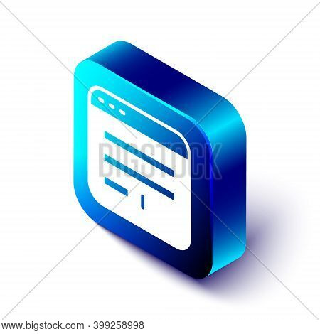 Isometric Browser Window Icon Isolated On White Background. Blue Square Button. Vector