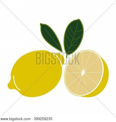 Single Lemon Is Whole And Cut With Two Leaves. Hand-drawn Vector. Lemon Yellow Icon. Vitamin C, Diet