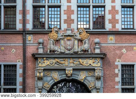 The Large Coat Of Arms Of The City Of Gdansk. It Is Located On The Large Arsenal, Gdansk, Pomerania,