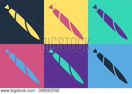 Pop Art Marijuana Joint, Spliff Icon Isolated On Color Background. Cigarette With Drug, Marijuana Ci