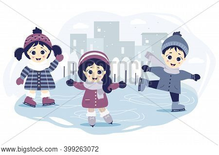 Kids Winter. A Boy And Two Girls Are Skating On A Skating Rink In The City On A Blue Background With