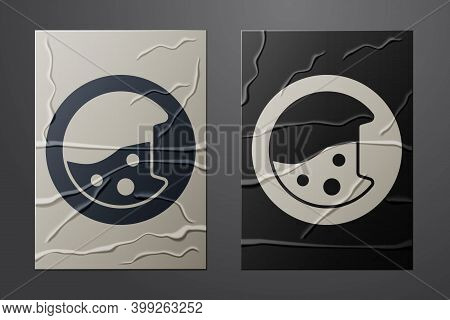 White Washer Icon Isolated On Crumpled Paper Background. Washing Machine Icon. Clothes Washer - Laun