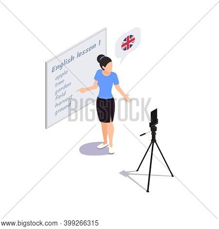 Learning Language Concept With Personal Tutor Teaching Online 3d Isometric Vector Illustration