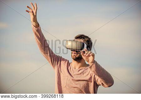Guy Virtual Reality Goggles. Using Vr Technologies. Digital Future And Innovation. Macho Man Wear Wi