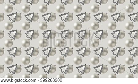 Background Of Many White Christmas Balls And Trees On Beige