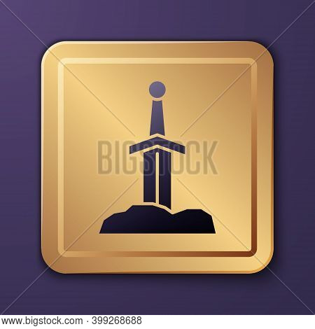 Purple Sword In The Stone Icon Isolated On Purple Background. Excalibur The Sword In The Stone From