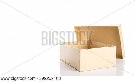 Box Cardboard Mockup. Brown Carton Package For Shipping Delivery Isolated On White Background. Carto