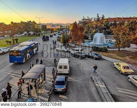 Turkey, Ankara - October 23, 2019: Top View Of Etlik Cd Street In Ankara. City Life In The Turkish C